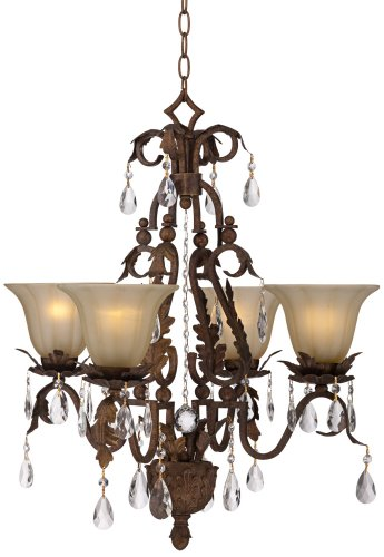 Iron Leaf 4-Light Roman Bronze and Crystal Chandelier - Roman Bronze Hanging