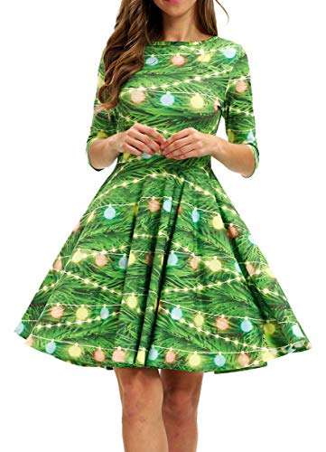 BarbedRose Womens 3D Print Short Sleeve Ugly Christmas Xmas Casual Flared Midi Dress,Christmas Lantern,S/M