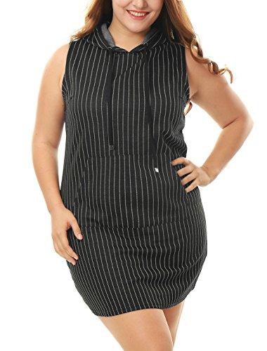 Allegra K Mujer Talla Grande Canguro Bolsillo Sin Mangas Rayas Capucha Vestido Negro