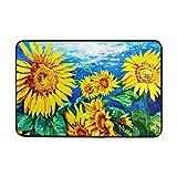 My Daily Sunflower Oil Painting Doormat 15.7 x 23.6 inch, Living Room Bedroom Kitchen Bathroom Decorative Lightweight Foam Printed Rug