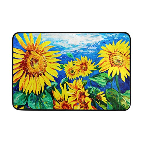 My Daily Sunflower Oil Painting Doormat 15.7 x 23.6 inch, Living Room Bedroom Kitchen Bathroom Decorative Lightweight Foam Printed Rug by ALAZA