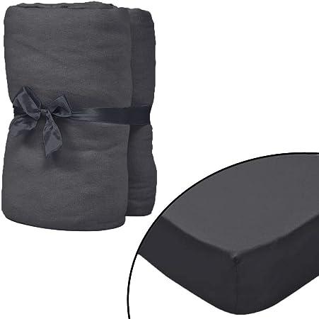 vidaXL 133242-2 sábanas bajeras para Cama de Agua de 1,8 x 2 m, algodón, Color Gris Antracita, tamaño: 180 x 200 cm (Ancho x Largo): Amazon.es: Hogar