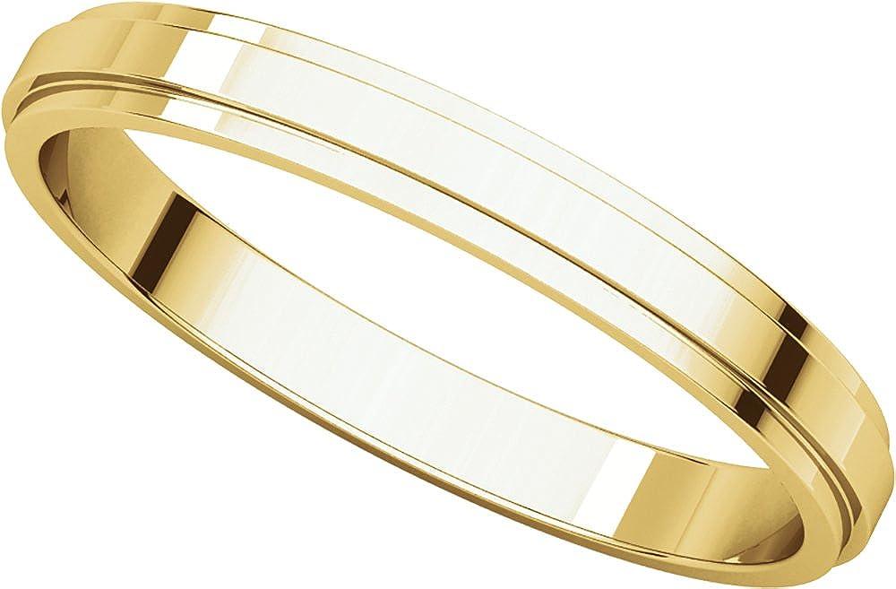 Mens 14K Yellow Gold 2.5mm Flat Edged Wedding Band Ring