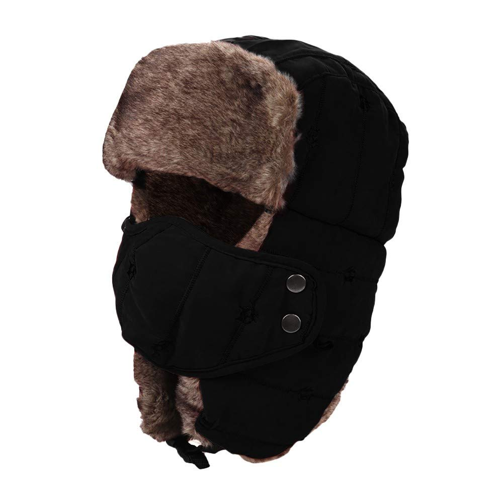 Lolin Winter Trapper Hat Russian Style Hat Ear Flap Chin Strap Windproof  Mask (Black) at Amazon Men s Clothing store  4e173d0029f