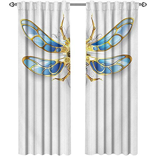 shenglv Dragonfly, Kitchen Curtains and Valances Set, Close Up View of Mechanical Dragonfly with Multifaceted Eyes Gears Body Print, Curtains for Living Room, W72 x L108 Inch, Yellow Blue