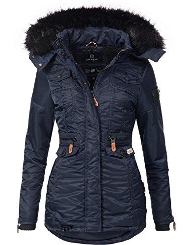 trapuntata donna 8 Colori con Navahoo Blu Giacca XS invernale XXL in Schätzchen Scuro da pelliccia sintetica cappuccio qP7BHBgWX