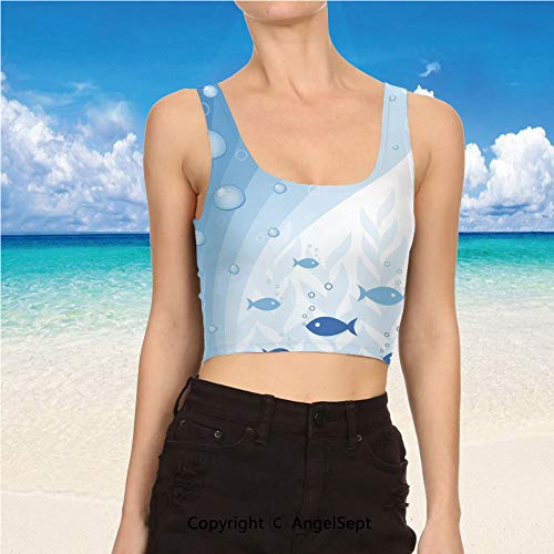 (AngelSept Tank Tops for Women,Yoga Clothes XL,Light Blue White Abstract Vivid Underwater)