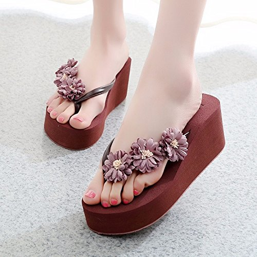 beach Summer red shoes fashion tide cool XZ Beach beach drag high women's thick new LIUXINDA slippers muffin summer q85ZTT
