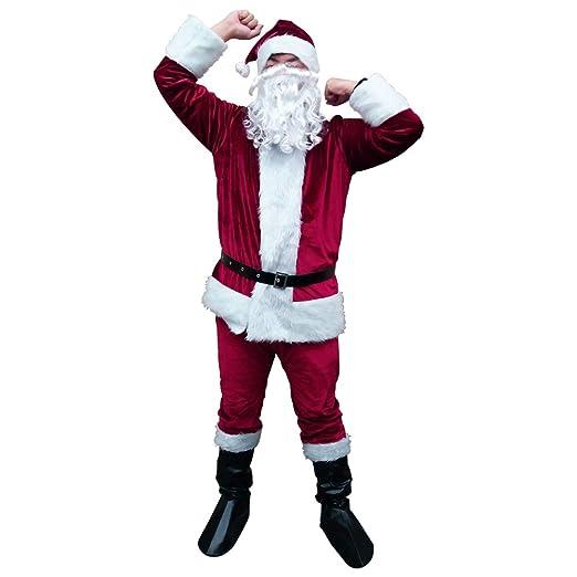 7df738301433d Amazon.com: Christmas Santa Claus Costume Suit Kit Delux Vevelt Santa Outfit  for Adult Men 7PCS (Dark Red): Clothing