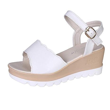 55fa71987 Amazon.com  Copercn Women s Ladies Simple Wide Side Open Toe Ankle Buckle  Strap Non-Slip Wedge Sandals Thick Bottom Flat Sandals Platform  Automotive