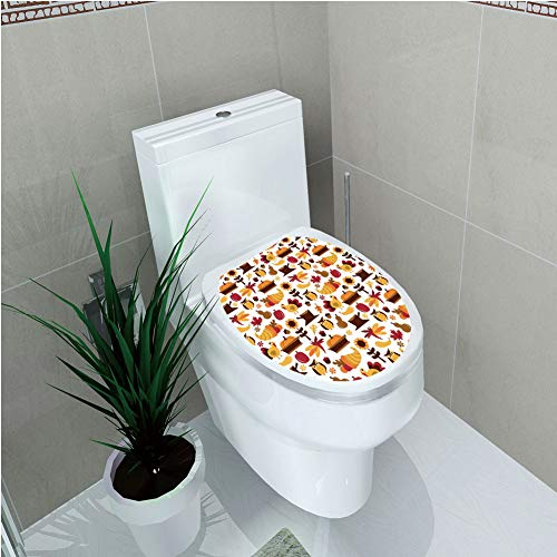- Toilet Cover Sticker,Harvest,Cute Cartoon Fall Composition Nuts Maple Leaves Owls Roosters Pumpkins,Yellow Brown Red Orange,Custom Sticker,W12.6