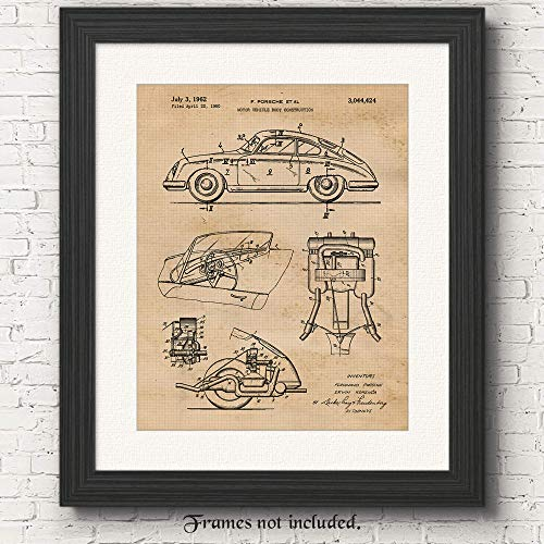 Vintage Porsche 356 Patent Poster Prints, Set of 1 (11x14) Unframed Photo, Great Wall Art Decor Gifts Under 15 for Home, Office, Garage, Man Cave, College Student, Teacher, Germany Cars & Coffee Fan from STARS BY NATURE
