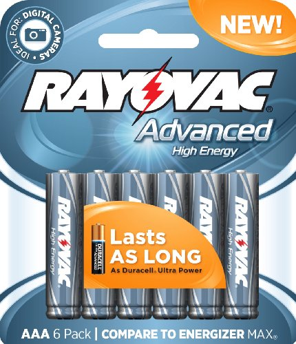 Rayovac 6 Pack High Energy AAA Batteries, 824-6HEF (High Energy Aaa Lithium Batteries)