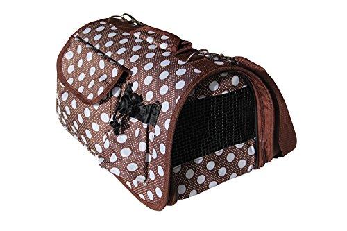 BPS (R) Portador Transportín Bolsa Bolso de tela (Lunares) para Perro o Gato, Mascotas, Animales, Tamaño: L, 51 x 26 x 29 cm. (Marrón)