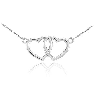 3c750d55d Amazon.com: 925 Sterling Silver Double Open Heart Necklace, 16