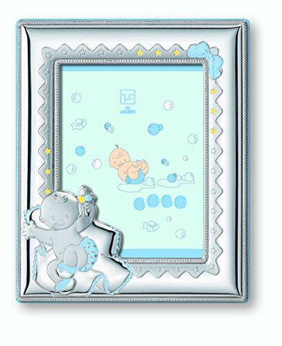 Sterling Silver Matt (Silver Touch USA Sterling Silver Picture Frame Nap Time, Blue, 3.5