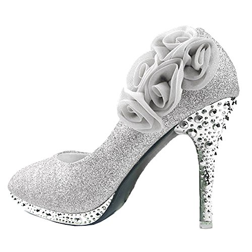 Cinderella Shoes For Women (Getmorebeauty Women's Silver Rose Flower Crystal Glitter Wedding Shoes 9 B(M) US)