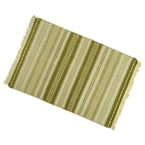 Stripe Pattern Jute Cotton Rug Indian Hand Woven Floor Runner Mat Rag Dari 38