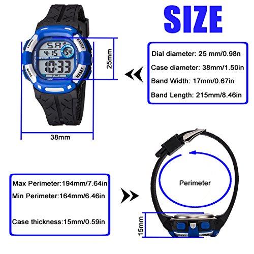Kids Watch Sport Multi Function 30M Waterproof LED Alarm Stopwatch Digital Child Wristwatch for Boy Girl by Takyae (Image #5)