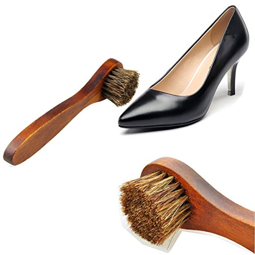 Horsehair Shoe Brush Set Multifunctional Shoe Cleaning and Shine Brush Kit for Leather Shoes, Suede and Nubuck Shoes, Car Seat or Leather Furniture by XITANGOU (Image #3)