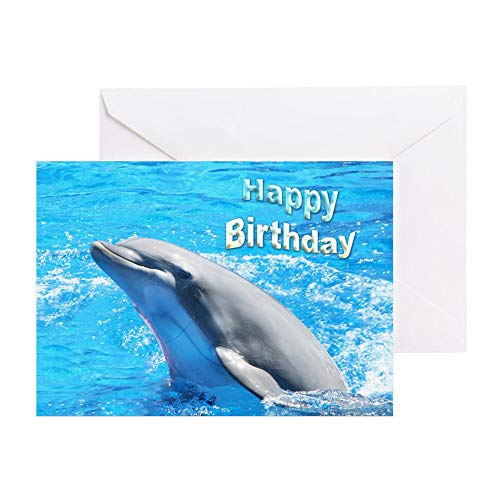 CafePress Happy Birthday Dolphin Greeting Card, Note Card, Birthday Card, Blank Inside Matte]()