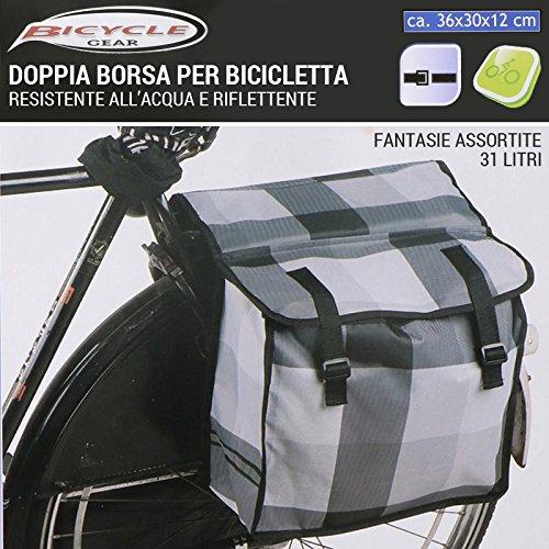Doppia Borsa per Bicicletta 31 LT Water Resistant Riflettente Fantasie Assortite Bicycle Gear