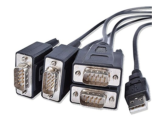 USB 2.0 TO 4 ports Serial RS-232 COM DB9 Male Adapter Cable FT232 USB-4x RS232