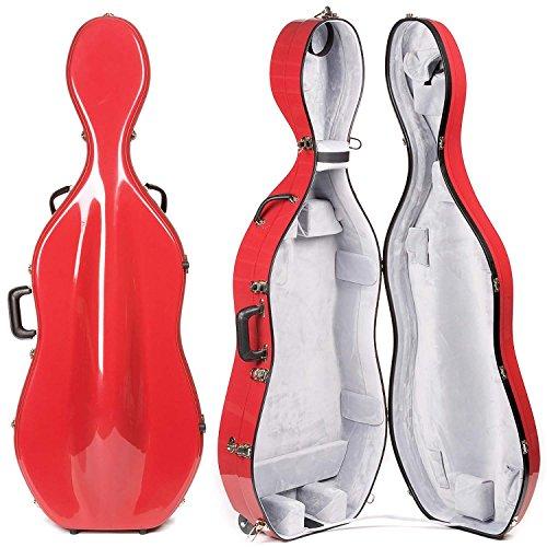 Bobelock 2000W Fiberglass Red Exterior/Gray Interior 4/4 Cello Case with Wheels by Bobelock (Image #3)