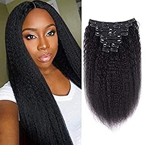 Afro Kinky Straight Clip In Remy Human Hair Extensions 14inch, Double Weft Real Remy Hair 8 Pcs 18 Clips Kinkys Straight…