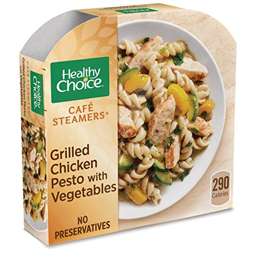 - Healthy Choice Cafe Steamers Frozen Dinner, Grilled Chicken Pesto with Vegetables, 9.9 Ounce