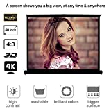 EUG Portable 40 Inches Foldable Collapsible Projector Screen Widescreen for Desktop Presentation Movies Video Games Business Home Cinema Theater 4:3