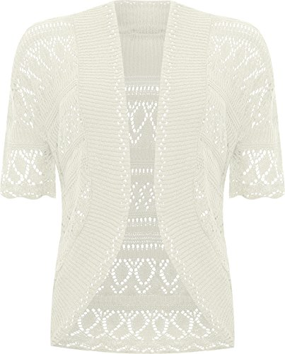 - WearAll Plus Size Womens Crochet Knitted Shrug Top - Cream - 20-22