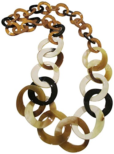 "Kenneth Jay Lane Brown,Black, Tan Marbleized 36"" Endless Graduated Circles Necklace"