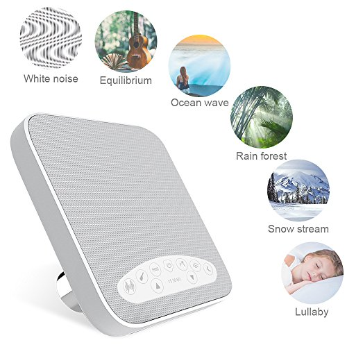 White Noise Machine, Sound Machines for Sleeping, Sleep Sound Machine with 6 Soothing Natural Sounds Music Timer for Baby, Kids, Adults, Perfect Christmas Gift