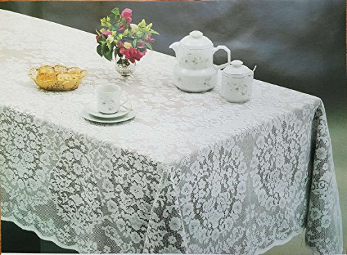 Oblong Lace Tablecloth (New White Lace Tablecloth. Floral Design. Available in many sizes Round, Oval and Oblong. Imperatriz Style (60