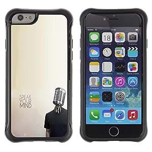 All-Round híbrido Heavy Duty de goma duro caso cubierta protectora Accesorio Generación-II BY RAYDREAMMM - Apple iPhone 6 PLUS 5.5 - Microphone Music Mind Protest Freedom