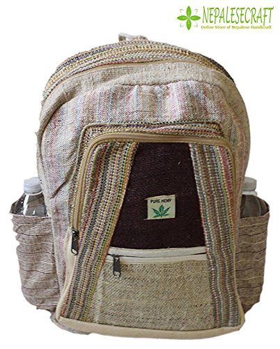 All Natural 100% Pure Himalayan Hemp Multi Pocket Backpack ( THC FREE) with Laptop Sleeve - Fashion Cute Travel School College Shoulder Bag / Bookbags / Daypack