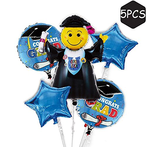 Famoby Blue Face Expression Congrats Grad Balloons For Graduation Party Decorations 42
