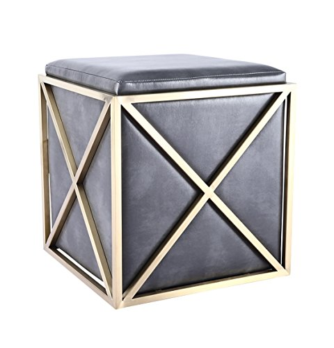 Urbanmod UM8954 Elegant Leather Stool with Bruched Gold Frame by UrbanMod