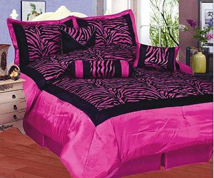 Amazon.com: Hot Pink / Black Comforter Set Animal Zebra Print ...
