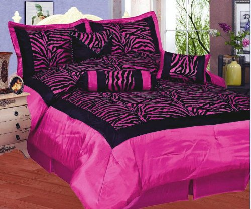 Amazon.com: Hot Pink / Black Comforter Set Animal Zebra Print ...
