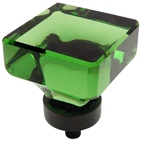 Cosmas 6377ORB-EM Oil Rubbed Bronze Cabinet Hardware Square Knob with Emerald Green Glass - 1-3/8
