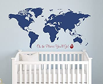 Amazon world map wall decal oh the places youll go nursery world map wall decal oh the places youll go nursery wall decals gumiabroncs Choice Image
