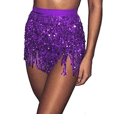 Kingspinner Women's Sequin Belly Dancer Skirt Summer Beach Wrap Tassel Mini Skirts Hip Scarf Belt