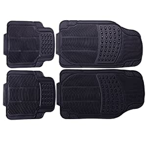 adeco fl0117 rubber car floor mats set of 4 pieces universal fit black color. Black Bedroom Furniture Sets. Home Design Ideas