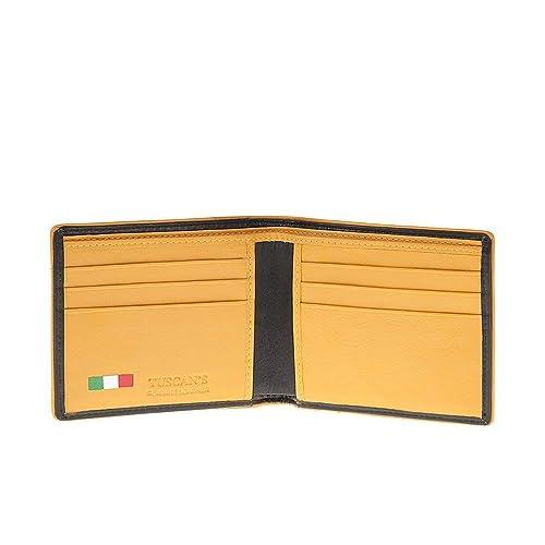53512d2082 Portafoglio Uomo nero e giallo con 4 scomparti vera pelle Made in Italy  Tuscan's