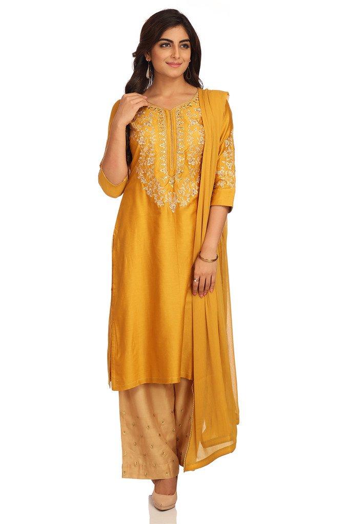 BIBA Women's Straight Cotton Silk Suit Set 42 Mustard