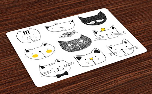 Ambesonne Cat Place Mats Set of 4, Cats with Moustache Bow Tie Hat Crown Fluffy and Fish Humor Faces Graphic, Washable Fabric Placemats for Dining Room Kitchen Table Decor, Yellow Blue