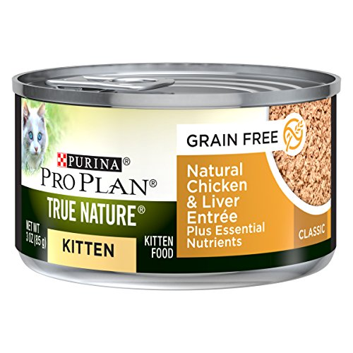 Purina Pro Plan True Nature Grain Free Natural Chicken & Liver Formula Plus Essential Nutrients Wet Kitten Food - (24) 3 Oz. Pull-Top Cans