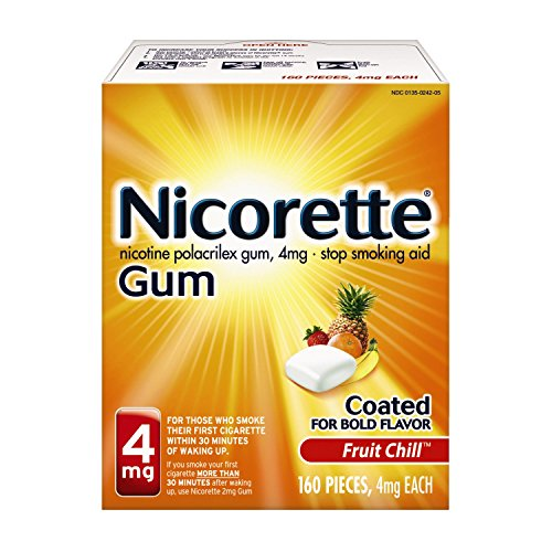 Nicorette Nicotine Gum to Quit Smoking, 4 mg, Fruit Chill Flavored Stop Smoking Aid, 160 Count